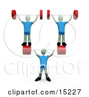 Strong Man Lifting Heavy Barbell Weights And Two Other Weightlifters Over His Head In A Fitness Gym Clipart Illustration Image