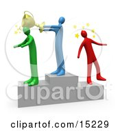 Blue Person Standing On The Winning Teir Of A Podium And Whacking The Runner Up With A Golden Trophy Cup After Hitting The 3rd Place Runner Up On The Head Clipart Illustration Image