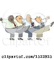 Cartoon Chorus Line Of Business Men Dancing The Can Can