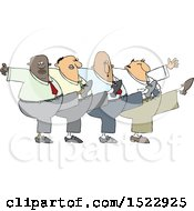 Clipart Of A Cartoon Chorus Line Of Business Men Dancing The Can Can Royalty Free Vector Illustration by djart