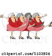 Cartoon Chorus Line Of Senior Ladies Dancing The Can Can
