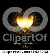 Clipart Of A Happy Valentines Day Greeting With A Gold Heart And Glitter On Black Royalty Free Vector Illustration