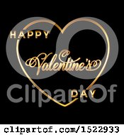 Clipart Of A Happy Valentines Day Greeting In A Gold Heart On Black Royalty Free Vector Illustration