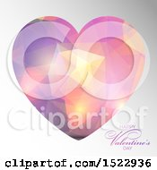 Happy Valentines Day Greeting And Geometric Heart On Gray