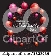 Happy Valentines Day Greeting With Confetti And Balloons On Black