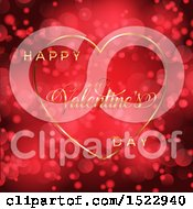 Happy Valentines Day Greeting In A Gold Heart Over A Red Flare Background