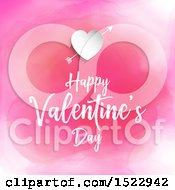 Happy Valentines Day Greeting Under A Heart With Cupids Arrow Over Pink Watercolor