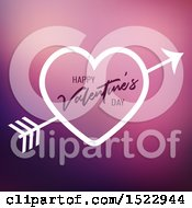 Happy Valentines Day Greeting In A Heart With Cupids Arrow Over Purple