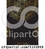 Clipart Of A Gold And Black Mandala Background With Copyspace Royalty Free Vector Illustration