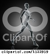 3d Xray Woman Walking With Visible Muscles On A Dark Gray Background