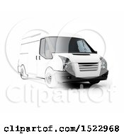 Clipart Of A Partiall Sketched And 3d Delivery Van On A White Background Royalty Free Illustration by KJ Pargeter