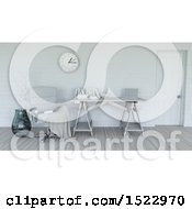 Clipart Of A 3d Modern White Interior With A Desk Royalty Free Illustration by KJ Pargeter