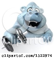 Poster, Art Print Of 3d White Monkey Yeti Holding A Dumbbell On A White Background