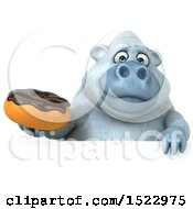 Poster, Art Print Of 3d White Monkey Yeti Holding A Donut On A White Background