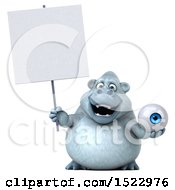 Poster, Art Print Of 3d White Monkey Yeti Holding An Eye On A White Background