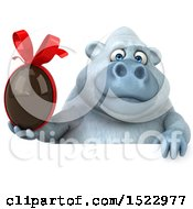 Poster, Art Print Of 3d White Monkey Yeti Holding A Chocolate Egg On A White Background