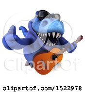Clipart Of A 3d Blue T Rex Dinosaur Holding A Guitar On A White Background Royalty Free Illustration by Julos