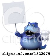 Clipart Of A 3d Blue T Rex Dinosaur Holding A Tooth On A White Background Royalty Free Illustration by Julos