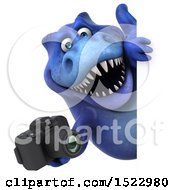 Clipart Of A 3d Blue T Rex Dinosaur Holding A Camera On A White Background Royalty Free Illustration by Julos