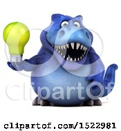 Poster, Art Print Of 3d Blue T Rex Dinosaur Holding A Light Bulb On A White Background
