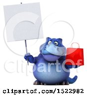 Clipart Of A 3d Blue T Rex Dinosaur Holding A Shopping Bag On A White Background Royalty Free Illustration by Julos