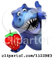 Clipart Of A 3d Blue T Rex Dinosaur Holding A Strawberry On A White Background Royalty Free Illustration by Julos