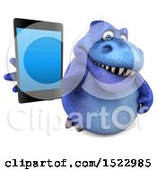 Clipart Of A 3d Blue T Rex Dinosaur Holding A Smart Phone On A White Background Royalty Free Illustration by Julos