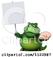 Clipart Of A 3d Green T Rex Dinosaur Holding A Brain On A White Background Royalty Free Illustration by Julos