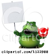 Clipart Of A 3d Green T Rex Dinosaur Holding A Devil On A White Background Royalty Free Illustration by Julos