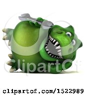Clipart Of A 3d Green T Rex Dinosaur Holding A Wrench On A White Background Royalty Free Illustration by Julos