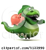 Clipart Of A 3d Green T Rex Dinosaur Holding A Piggy Bank On A White Background Royalty Free Illustration by Julos