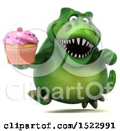 Clipart Of A 3d Green T Rex Dinosaur Holding A Cupcake On A White Background Royalty Free Illustration by Julos