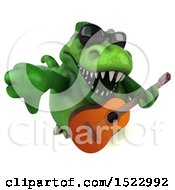 Clipart Of A 3d Green T Rex Dinosaur Holding A Guitar On A White Background Royalty Free Illustration by Julos