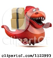 Clipart Of A 3d Red T Rex Dinosaur Holding Boxes On A White Background Royalty Free Illustration by Julos