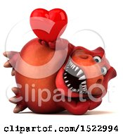 Clipart Of A 3d Red T Rex Dinosaur Holding A Heart On A White Background Royalty Free Illustration by Julos