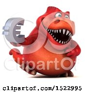 Clipart Of A 3d Red T Rex Dinosaur Holding A Euro On A White Background Royalty Free Illustration by Julos
