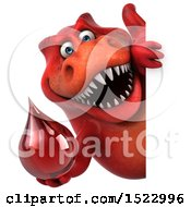 Clipart Of A 3d Red T Rex Dinosaur Holding A Blood Drop On A White Background Royalty Free Illustration by Julos