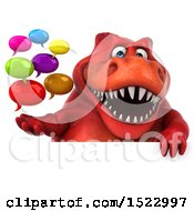 Clipart Of A 3d Red T Rex Dinosaur Holding Messages On A White Background Royalty Free Illustration by Julos