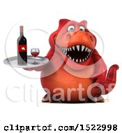 Clipart Of A 3d Red T Rex Dinosaur Holding Wine On A White Background Royalty Free Illustration by Julos