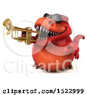 Clipart Of A 3d Red T Rex Dinosaur Playing A Trumpet On A White Background Royalty Free Illustration by Julos