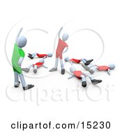 Fitness Instructor Facing The Last Person Standing During An Aerobics Class In A Fitness Gym Clipart Illustration Image