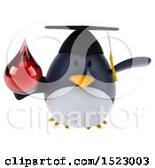 Clipart Of A 3d Chubby Penguin Graduate Holding A Blood Drop On A White Background Royalty Free Illustration