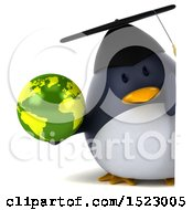 Clipart Of A 3d Chubby Penguin Graduate Holding A Globe On A White Background Royalty Free Illustration