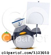 Clipart Of A 3d Chubby Penguin Sailor Holding An Orange On A White Background Royalty Free Illustration by Julos