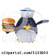 Clipart Of A 3d Chubby Penguin Sailor Holding A Burger On A White Background Royalty Free Illustration by Julos