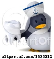Clipart Of A 3d Chubby Penguin Sailor Holding A Tooth On A White Background Royalty Free Illustration by Julos