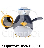 Clipart Of A 3d Chubby Penguin Sailor Holding A Tv On A White Background Royalty Free Illustration by Julos
