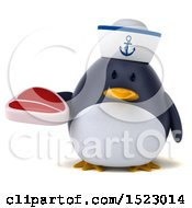 Clipart Of A 3d Chubby Penguin Sailor Holding A Steak On A White Background Royalty Free Illustration by Julos