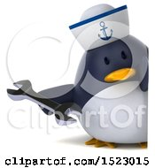 Clipart Of A 3d Chubby Penguin Sailor Holding A Wrench On A White Background Royalty Free Illustration by Julos
