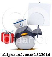 Clipart Of A 3d Chubby Penguin Sailor Holding A Gift On A White Background Royalty Free Illustration by Julos